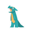 cute boy in dino costume kid dressed for carnival vector image vector image