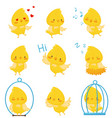 cute chicken chracters in various situations set vector image vector image