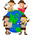 cute family explorer around a globe vector image