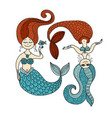 cute mermaids for your design vector image