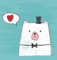 cute white bear with hat and bow vector image