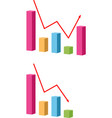 decrease and growing graph icon chart with bars vector image