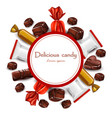 delicious chocolates candy round card vector image