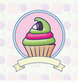 delicious sweet cupcake with ribbon vector image vector image