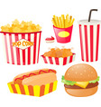 different kinds of fastfood vector image