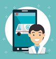 doctor with smartphone medical services app vector image