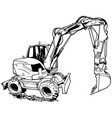 excavator machine in work vector image