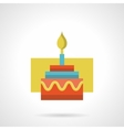 Festive cake with candle flat color icon vector image vector image