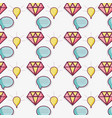 flat line bubble diamond and bulb pattern vector image