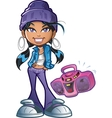 Funky Girl With Boombox vector image