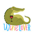 funny green crocodile drinking red wine from vector image vector image