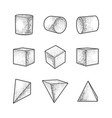 geometric shapes set sketch vector image