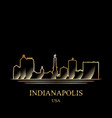 gold silhouette of indianapolis on black vector image