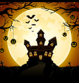 halloween haunted castle with pumpkins hanging on vector image vector image