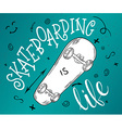 hand drawing lettering phrase - skateboarding is vector image vector image