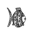 hand drawn fish with ornament vector image vector image