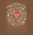 happy valentine day floral pattern vintage card vector image