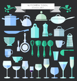 Kitchenware and restaurant glassware icons set vector image vector image