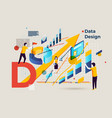 letter d business banner people data design vector image vector image