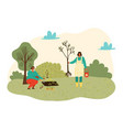 people planting trees plants and gardening at vector image
