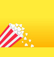 popcorn falling down striped bucket box movie vector image vector image
