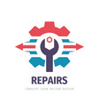 repair service business logo design industry vector image