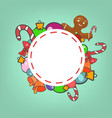 round christmas frame vector image vector image