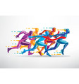 running people set of stylized silhouettes vector image vector image