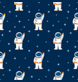seamless flat pattern with spaceman and stars vector image