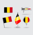 Set of Belgian pin icon and map pointer flags vector image vector image