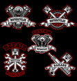 set of motorcycle repair emblems bike motor vector image vector image