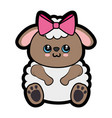 sheep kawaii cartoon vector image vector image