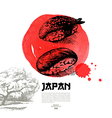 Sketch and watercolor Hand drawn Japanese sushi vector image vector image