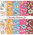 Sketch Doodle Candies Sweets Seamless Patterns Set vector image vector image