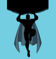 superhero holding boulder silhouette vector image vector image