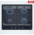 surface of gas stove with flame vector image vector image