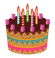 sweet cake with five burning candles vector image