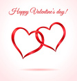 Two red hearts Valentines card or background vector image vector image