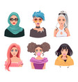 young women avatar set isolated on white vector image