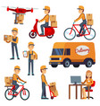 cute cartoon courier characters with vector image