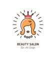 beauty salon icon queen logo hairdressing vector image