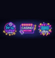 casino set of logos in neon style design template vector image vector image