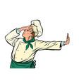 caucasian cook chef gesture shame denial no vector image vector image