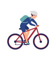 cheerful boy in helmet riding bike smiling vector image vector image
