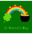 Clover rainbow and pot with coins St Patricks day vector image vector image