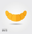 croissant icon with shadow flat vector image vector image