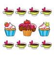 cupcake set on white background vector image