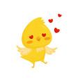 cute chicken in love funny bird cartoon character vector image vector image