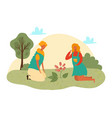 cute girl planting flowers flat vector image vector image