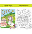 cute unicorn celebrating a birthday coloring book vector image